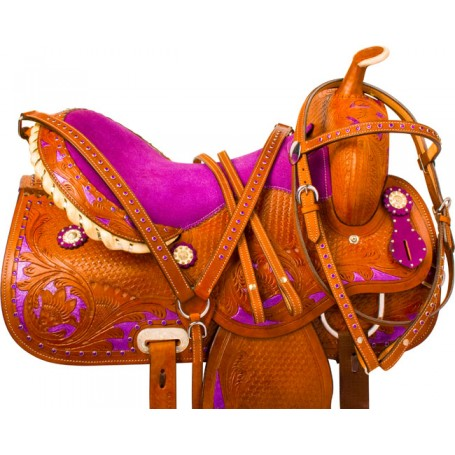 Royal Purple Barrel Racing Western Horse Saddle Tack 15