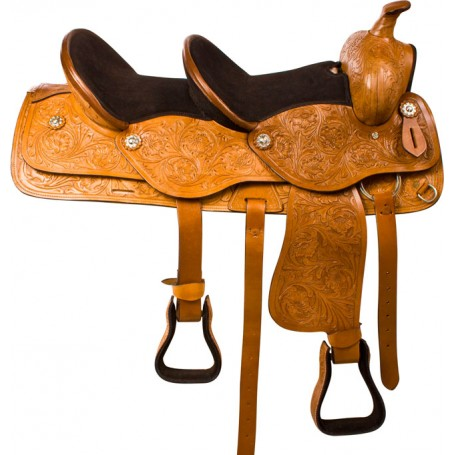 Tan Tandem Double Seat Western Trail Horse Saddle 15 & 10