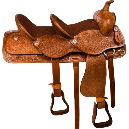 Brown Tandem Double Seat Western Trail Horse Saddle 15 & 10