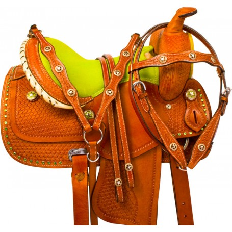 Lime Green Barrel Racing Youth Kids Horse Saddle Tack 13