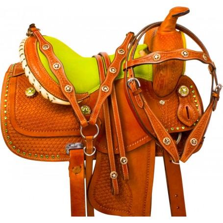 Lime Green Miniature Horse Western Mini Saddle Tack 10