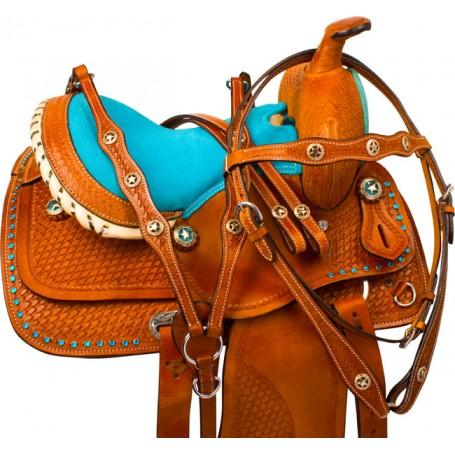Miniature Horse Turquoise Western Mini Saddle Tack 10