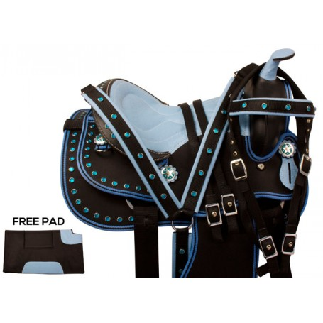 Blue Crystal Kids Seat Youth QH Synthetic Saddle Tack 14