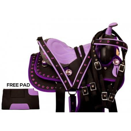 Purple Crystal Youth Kids QH Synthetic Saddle Tack 13