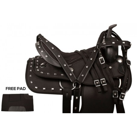 Black Silver Synthetic Western Horse Saddle Tack 18