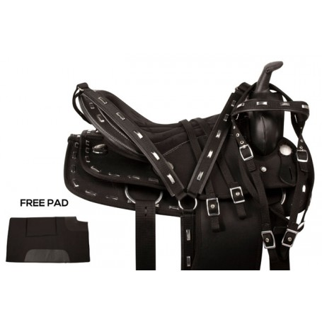 Silver Black Synthetic Western Show Horse Saddle 18