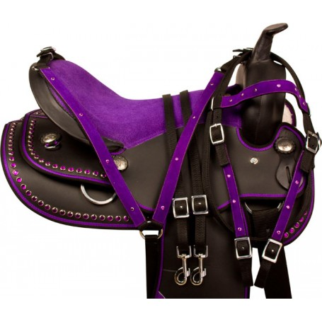 Purple Crystal Dura Leather Western Horse Saddle Tack 17