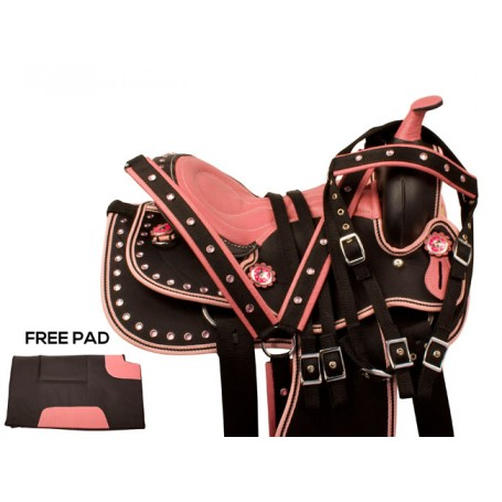 Pink Crystal Youth Synthetic Western Pony Saddle Tack 12 13