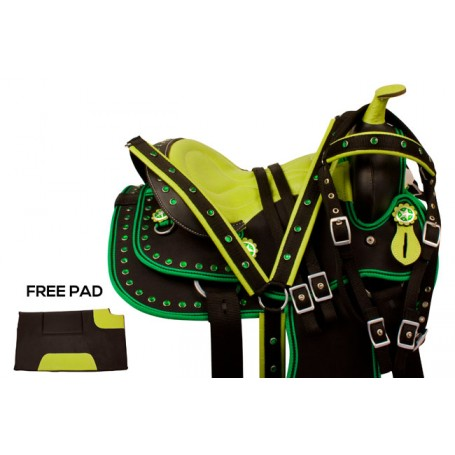 Green Crystal Synthetic Western Pony Saddle Tack 10