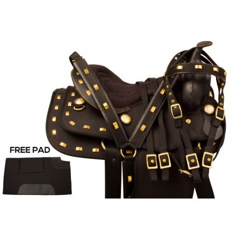 Black Gold Synthetic Trail Western Saddle Tack 17