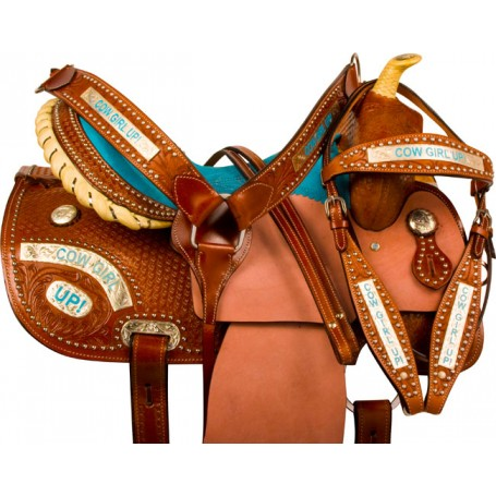 Cowgirl Up Barrel Racing Western Horse Saddle Tack 16