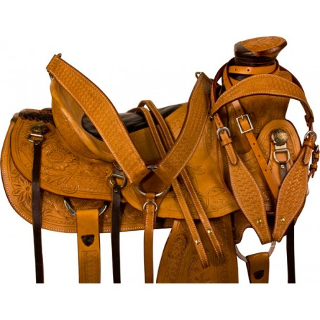 Tooled Wade Tree Ranch Work Roping Saddle Tack 15