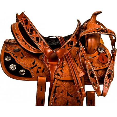 Black Inlay Crystal Barrel Racing Horse Saddle Tack 14
