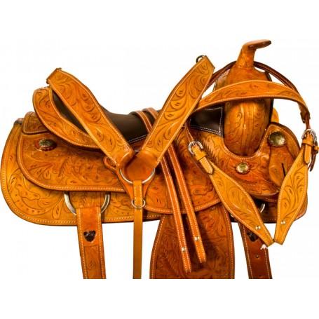 Chestnut Tooled Western Reining Horse Saddle Tack 16
