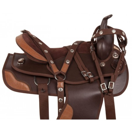 Brown Dura Leather Gator Western Trail Horse Saddle 15