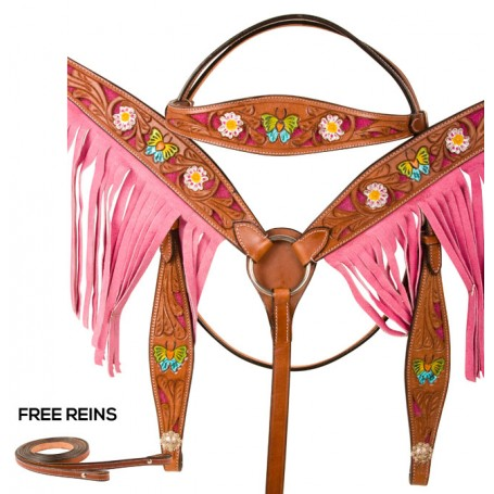 Hand Painted Butterfly Floral Pink Western Horse Tack Set