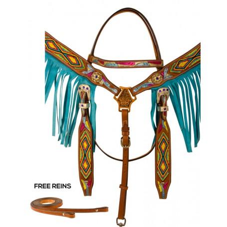 Hand Painted Turquoise Fringe Beaded Western Horse Tack Set