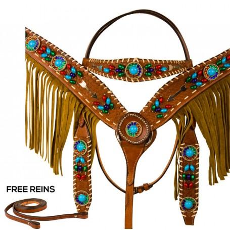 Leather Beaded Arrow Headstall Fringe Western Horse Tack Set