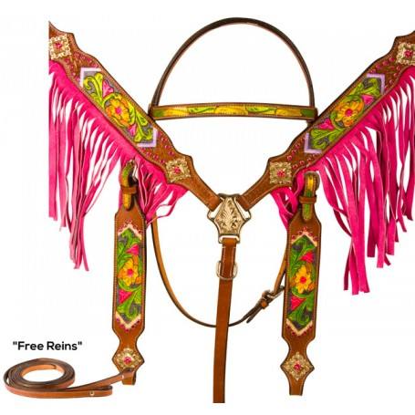 Hand Painted Floral Tooled Pink Fringe Western Horse Tack Set