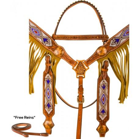Cowboy Beaded Aztec Fringe Western Headstall Horse Tack Set
