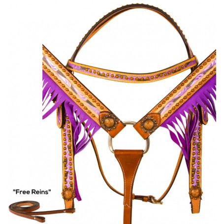 Light Oil Purple Hand Painted Fringe Western Horse Tack Set