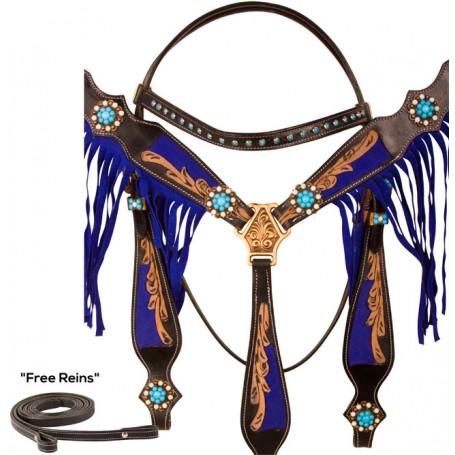 Black Leather Dark Blue Beaded Fringe Western Horse Tack Set