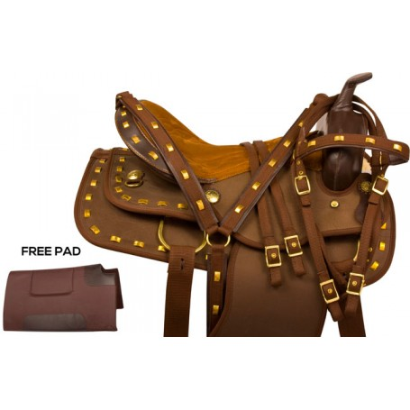 Brown Gold Synthetic Western Horse Saddle Tack 15 16 17