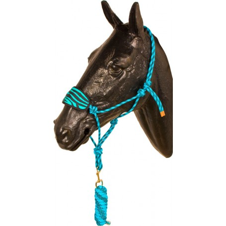 Turquoise Black Bronc Nose Horse Rope Halter With Lead Rope