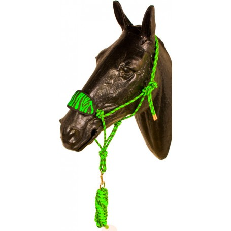 Lime Green Black Bronc Nose Horse Rope Halter With Lead Rope
