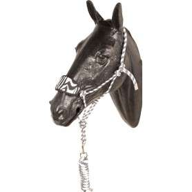 White Black Bronc Nose Horse Rope Halter With Lead Rope