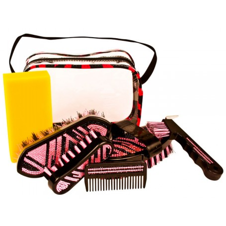 Six Piece Pink Zebra Crystal Bling Horse Grooming Kit