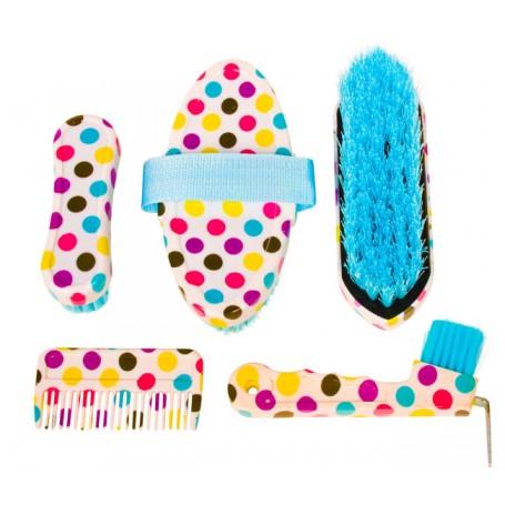 Five Piece Polka Dot Horse Brushes Hoof Pick Grooming Kit