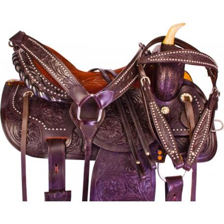 Brown Leather Western Barrel Racing Horse Saddle Tack 14 16