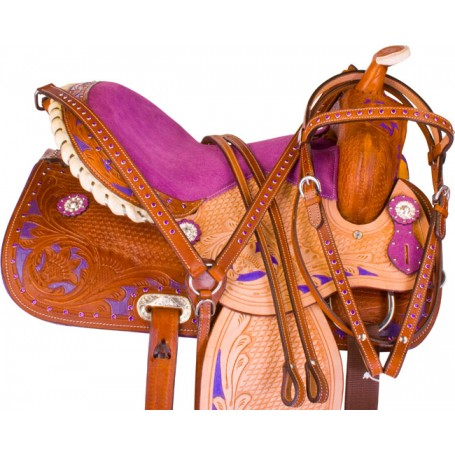 Purple Crystal Barrel Racer Western Horse Saddle Tack 14
