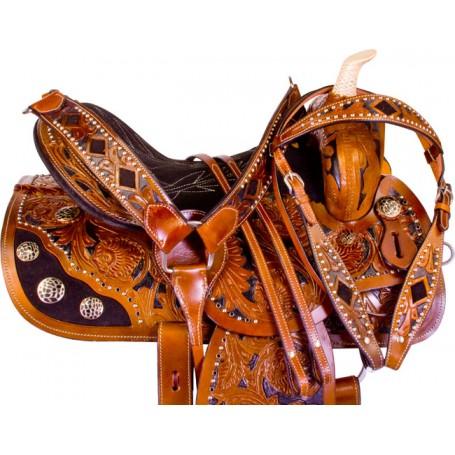 Black Inlay Rhinestone Barrel Racer Horse Saddle Tack 14