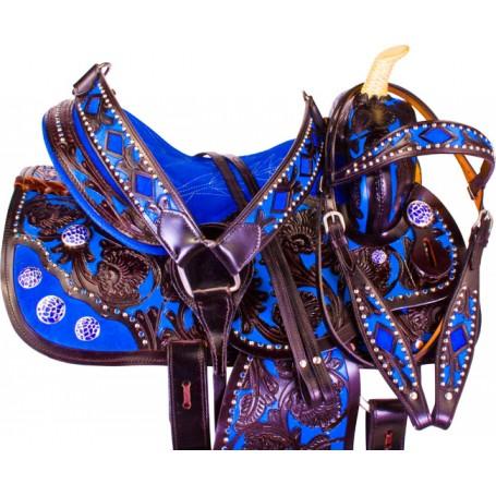 Royal Blue Barrel Racing Western Horse Saddle Tack 15 16