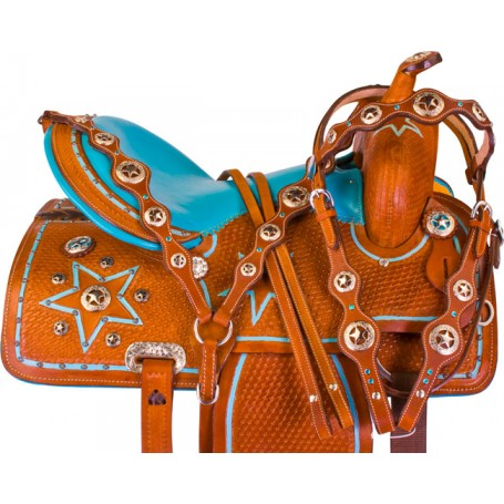 Turquoise Star Barrel Racer Western Horse Saddle Tack 15 16