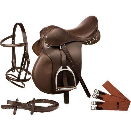 Brown All Purpose English Horse Saddle Bridle Package 18