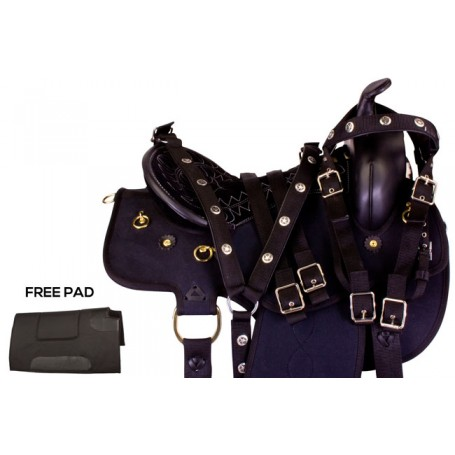 Black Gaited Synthetic Western Horse Saddle Tack 15 18