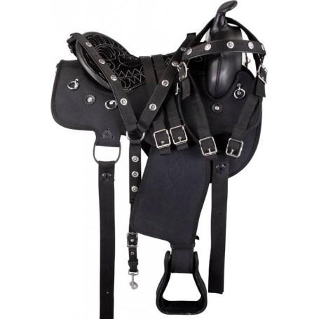 Black Round Synthetic Gaited Western Saddle Tack 17