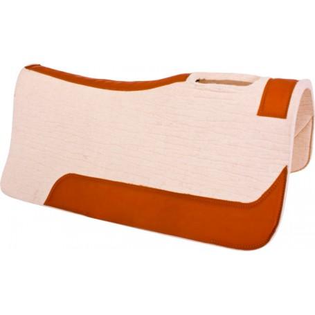 Cream Felt Brown Leather Western Contour Saddle Pad