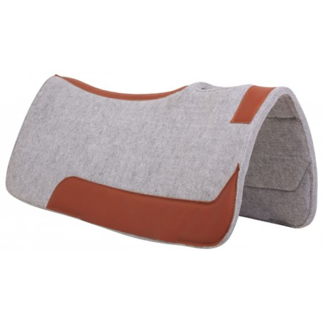 Gray Felt Brown Leather Western Contour Saddle Pad