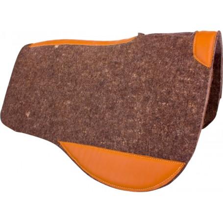 Dark Gray Leather Contour Wool Felt Western Saddle Pad