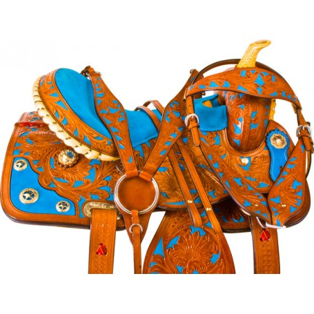 Chestnut Blue Inlay Barrel Racing Horse Saddle Tack 15 16