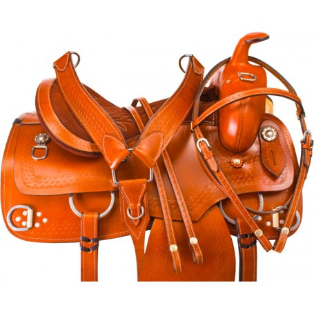 Tan Training Western Pleasure Trail Horse Saddle Tack 16