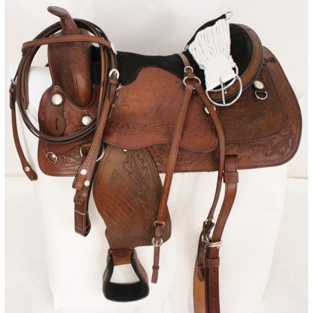 New 17 Brown Leather Trail Pleasure Western Saddle W Tack
