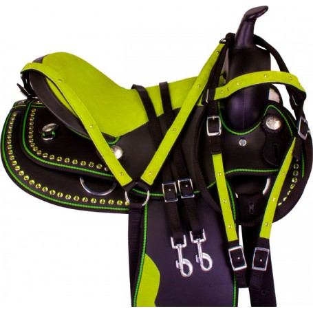 Lime Green Dura Leather Youth Kids Pony Saddle Tack 12 13