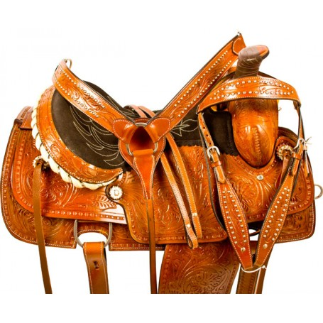 Tooled Ranch Pleasure Roping Western Horse Saddle Tack 16