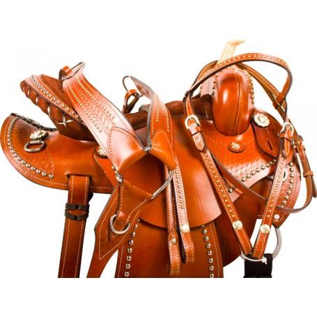 Studded Round Barrel Racing Western Horse Saddle 15 16