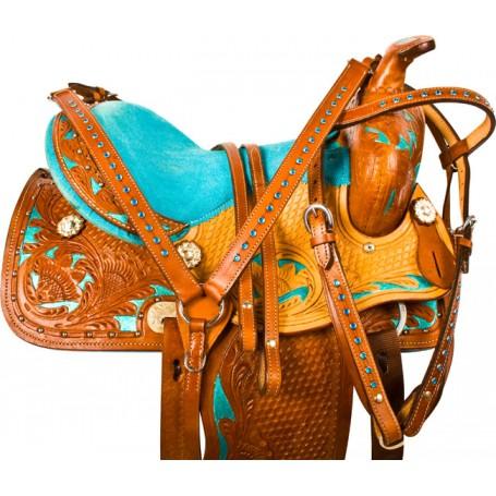 Turquoise Youth Kids Pony Barrel Western Saddle Tack 13